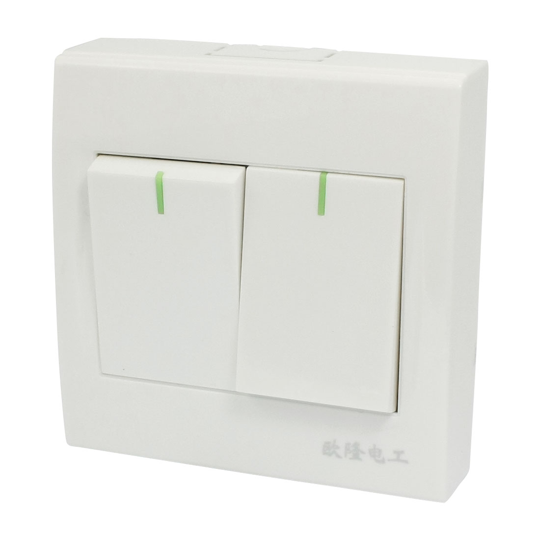 AC 250V 10A 2 Gang White Plastic Housing Control SPST Wall Panel Switch