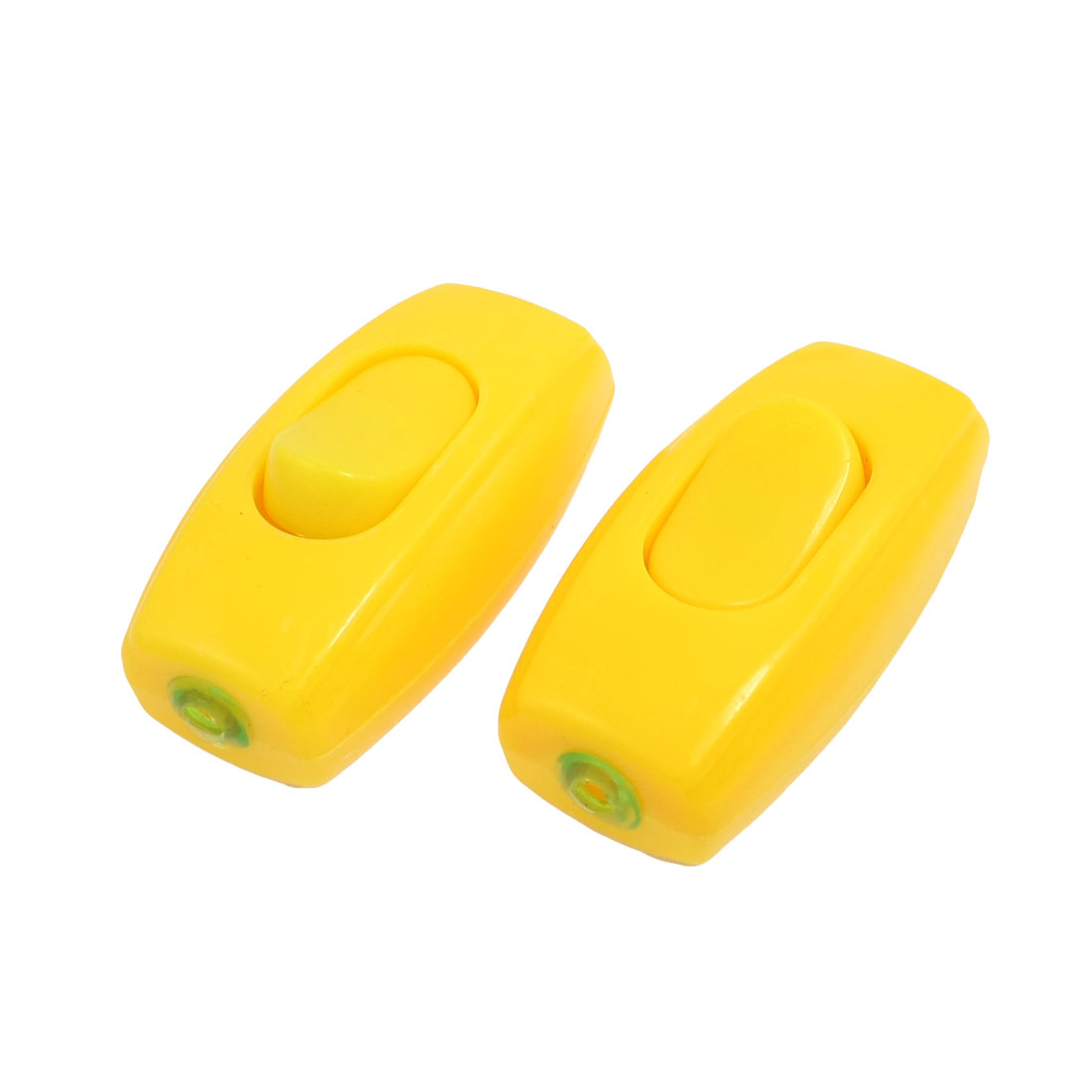 2 Pcs Yellow Plastic Housing in Line Cord on/off Switch AC 250V 6A