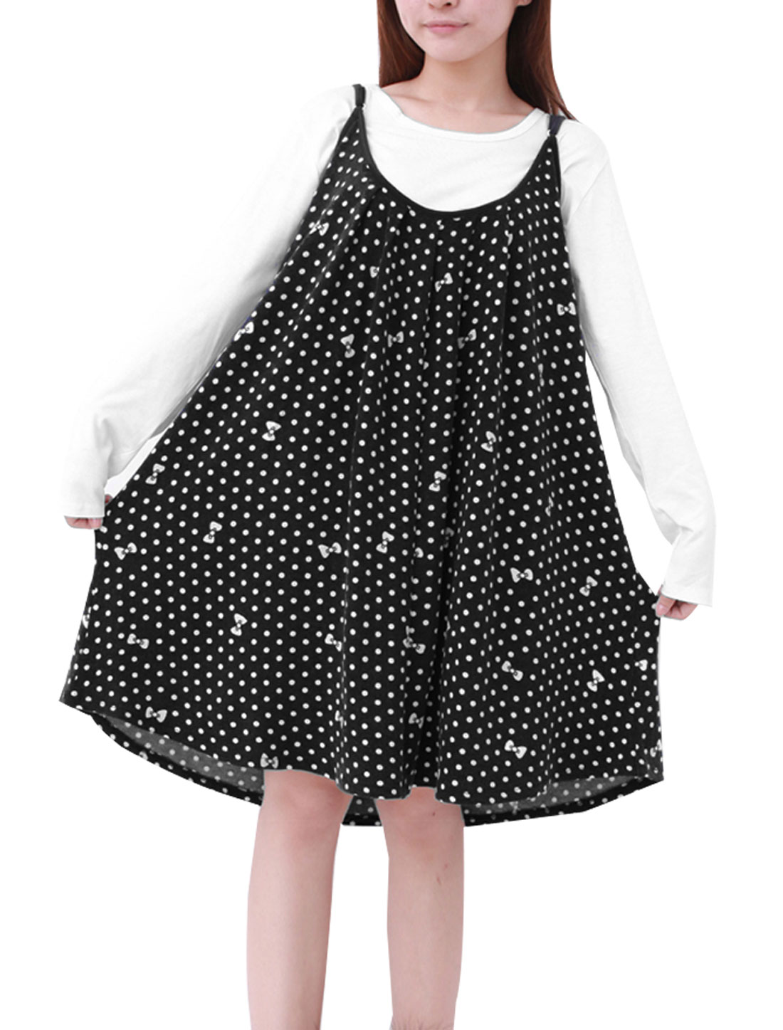 Motherhood Pregnancy Black White Dots Pattern Suspender Dress L