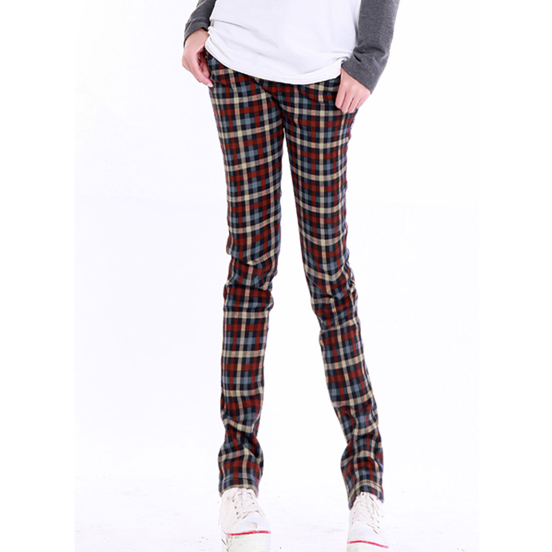 Maternity Red Blue Beige Casual Plaids Pattern Pockets Trousers M