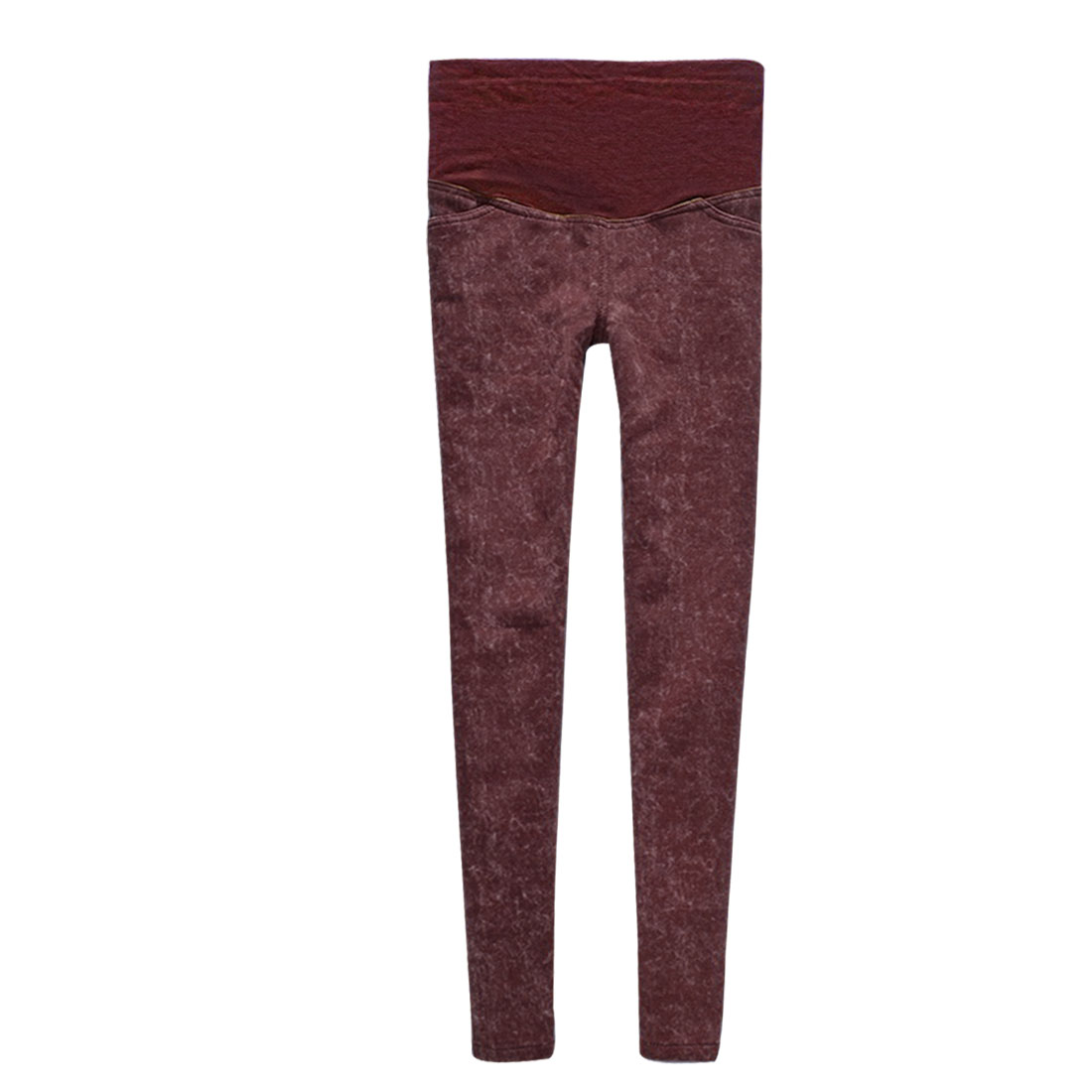 Maternity Burgundy Slant Pockets Front Stretch Fleece Thick Trousers M