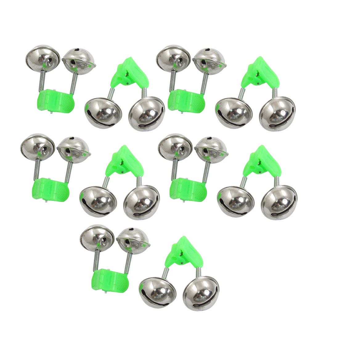 Green Silver Tone Spring Load Siamesed Fishing Alarm Bells 10 Pcs