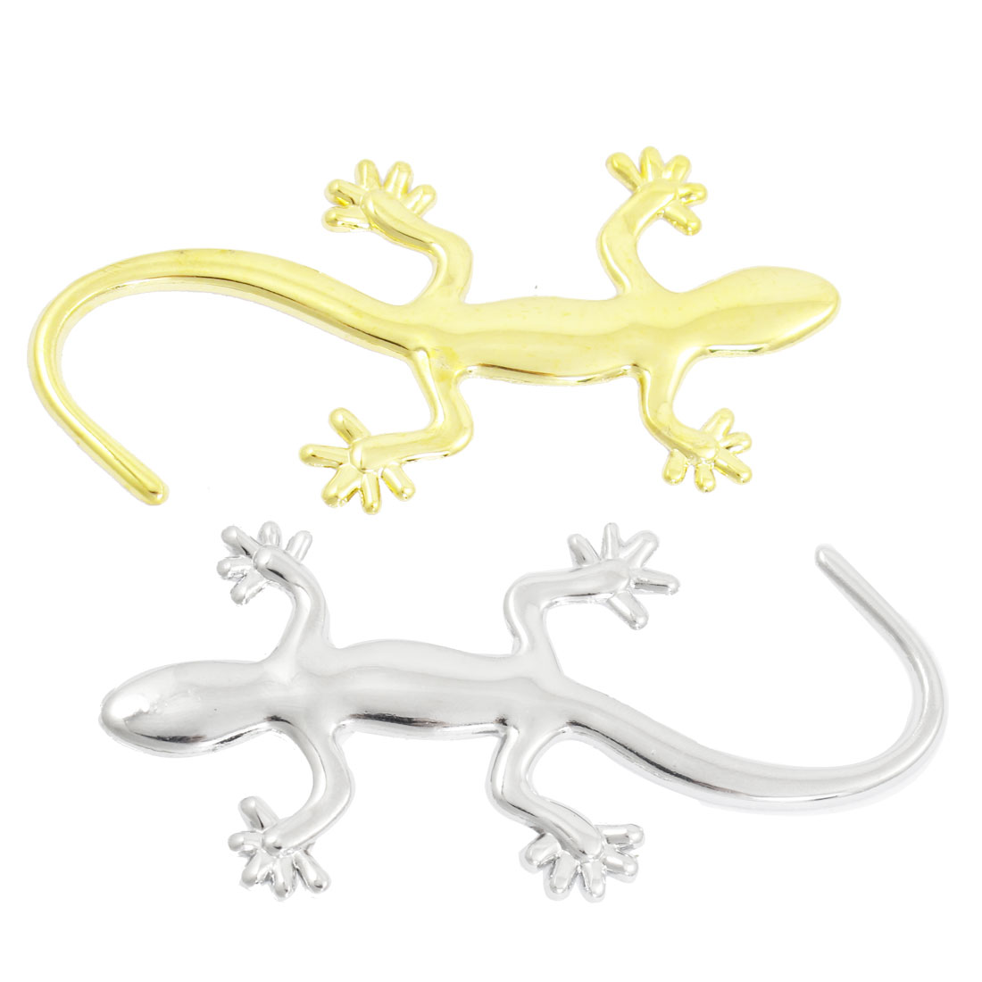 2 Pcs Gekko Shaped Silver Gold Tone 3D Car Stickers