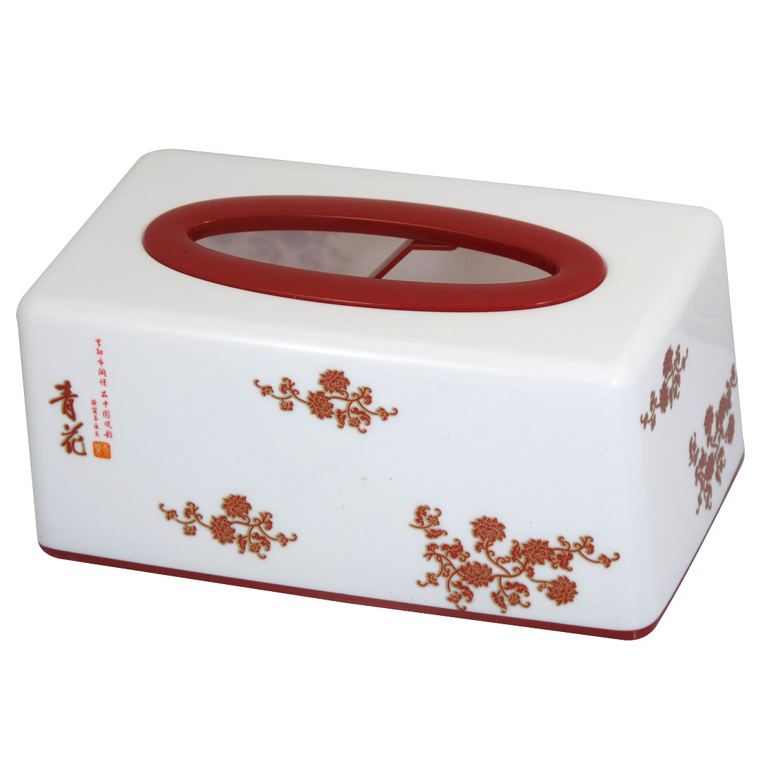 White Red Rectangle Shape Chinese Character Pattern Tissue Holder