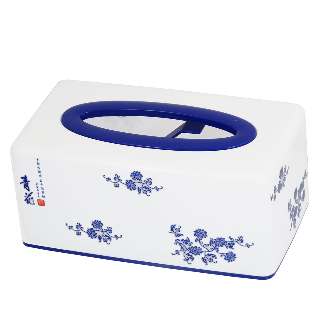 Home Decor Floral Pattern Rectangular Plastic Tissue Box White Blue