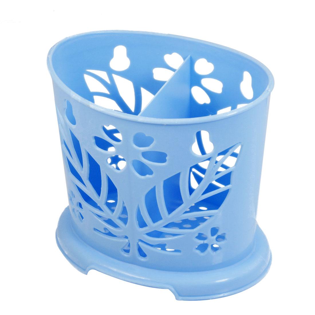 Kitchenware Blue Perforated Bottom Plastic Chopstick Holder Case