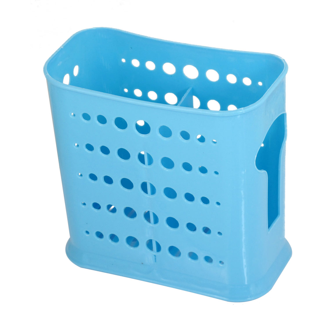 Home Kitchen Double Compartments Plastic Perforated Chopsticks Case Blue
