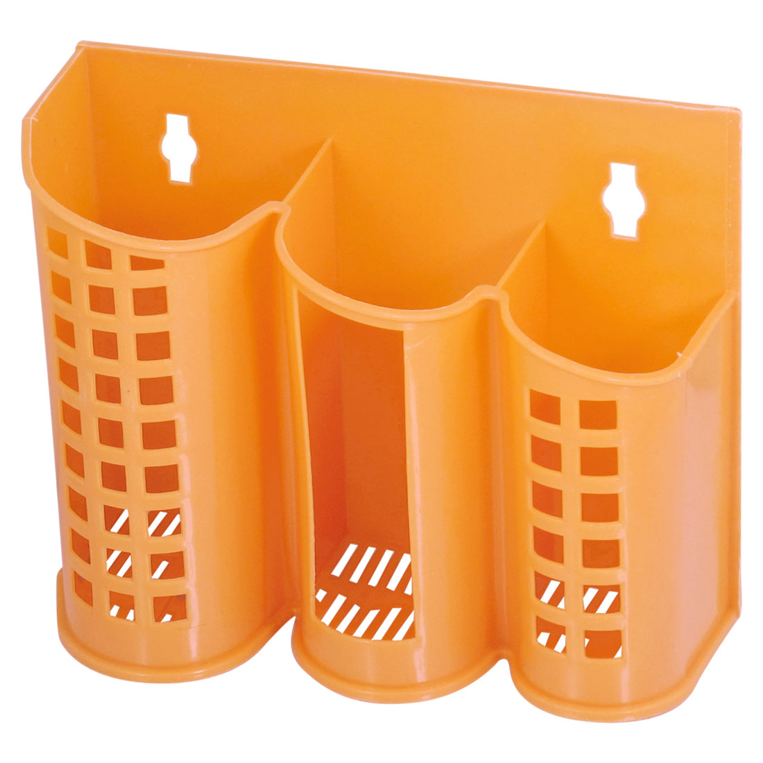 Kitchen 3 Compartment Plastic Perforated Chopsticks Case Orange