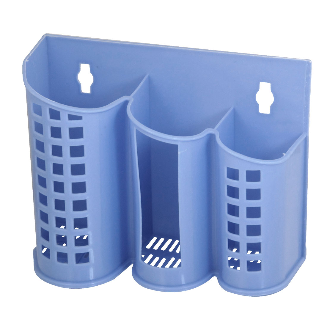 Home Kitchen Multi Compartments Blue Plastic Chopsticks Case