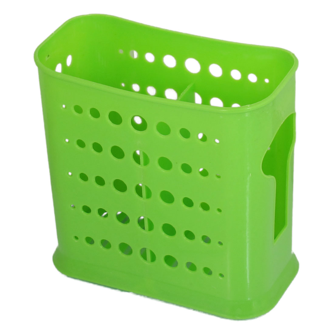 Dual Compartments Home Kitchen Plastic Perforated Chopsticks Case Green