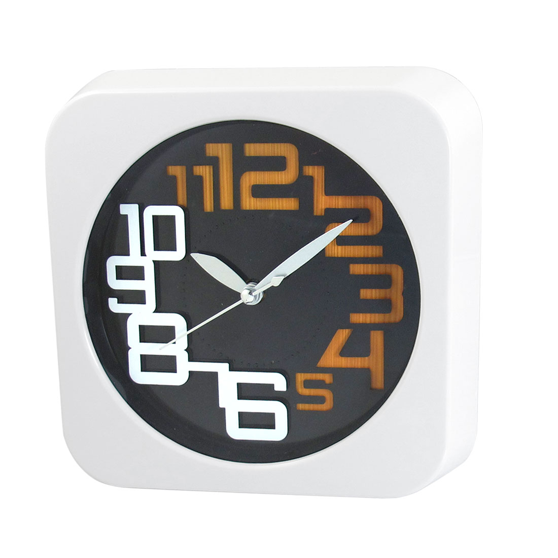 Office White Square Shaped Shell Wall Mounted Alarm Clock