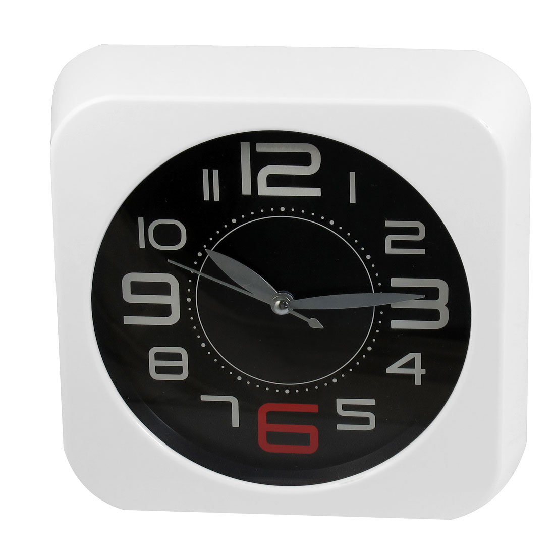 Square Shaped Case Arabic Numbers Display Wall Clock White