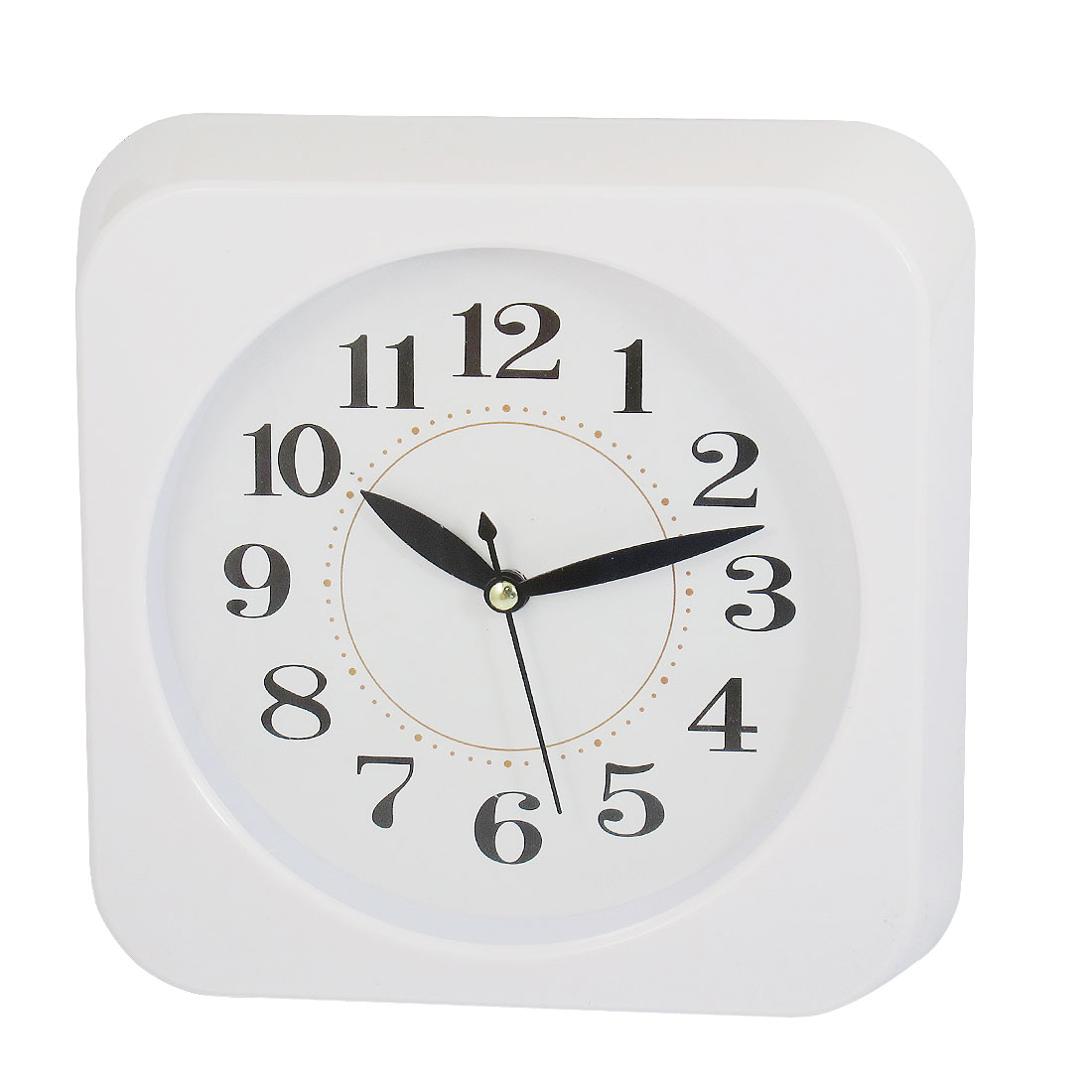 Square Shaped Shell Hard Plastic Wall Mounted Clock White
