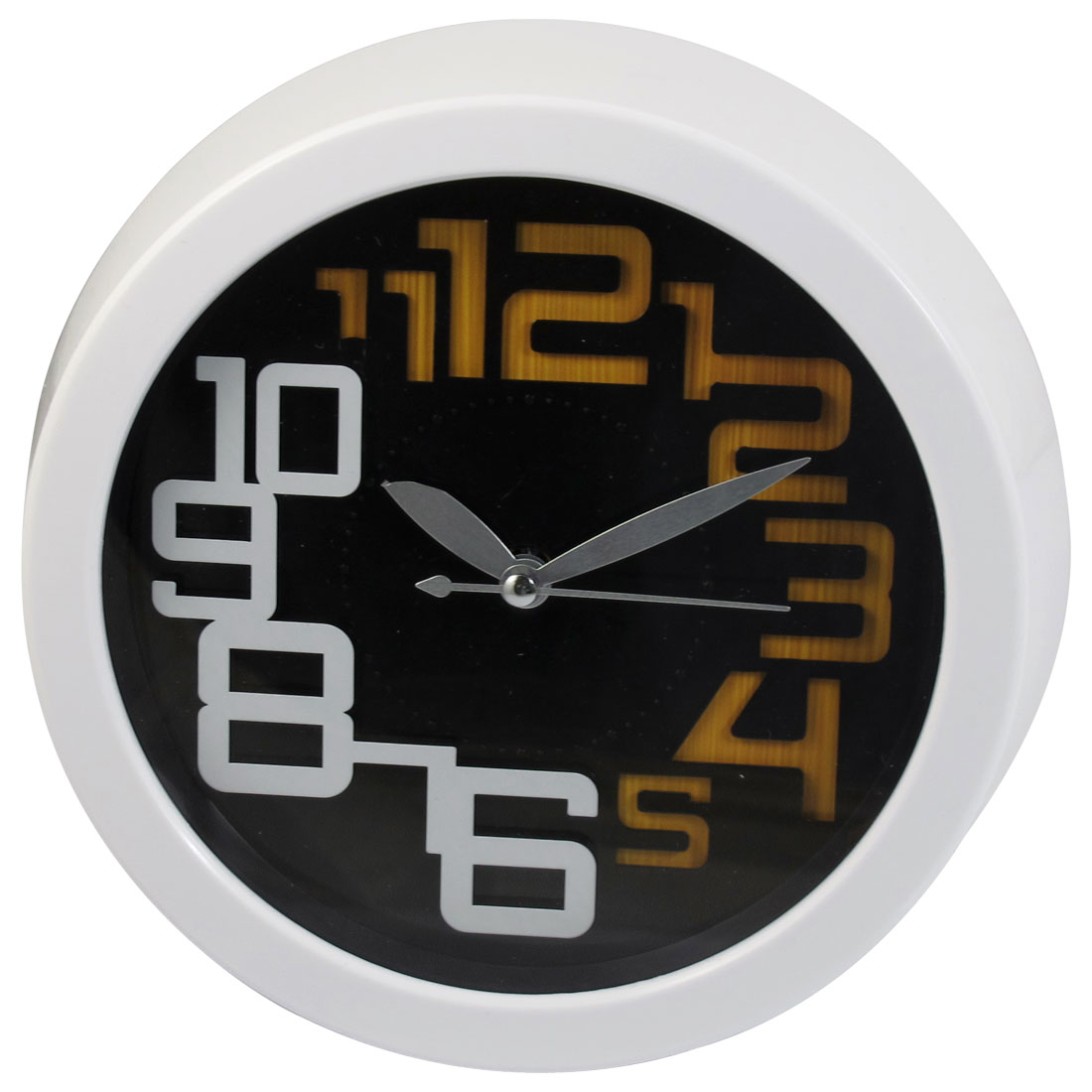 Battery Powered Round Dial Wall Mounted Clock White for Home Office