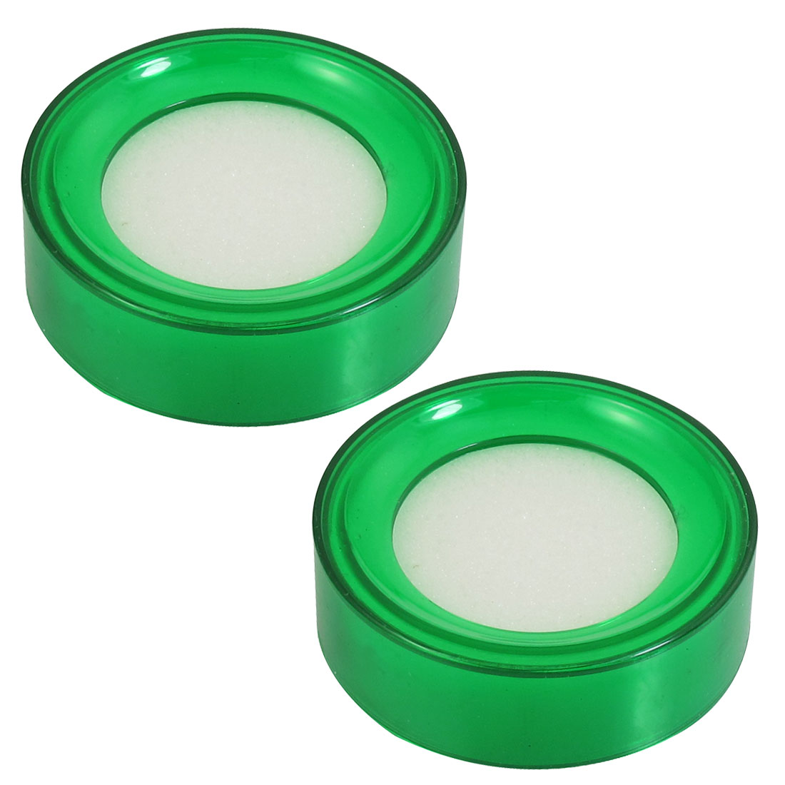 Green Plastic 7cm Dia Round Sponge Finger Wet Money Cashier 2 Pcs