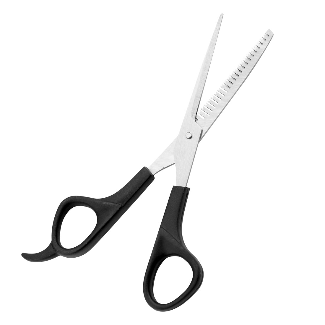 Silver Tone Cutter Black Grip Hairdresser Hair Scissors