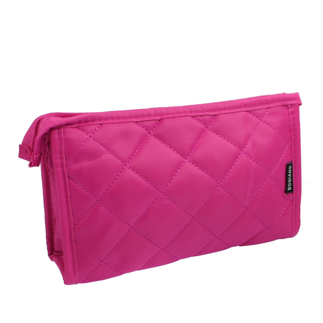 Nylon Fuchsia Rhombus Pattern Zip up Cosmetics Pocket Organizer w Mirror