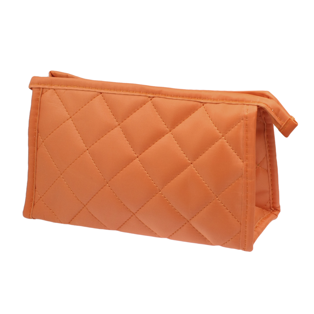 Nylon Orange Rhombus Pattern Zip up Cosmetics Pocket Organizer w Mirror