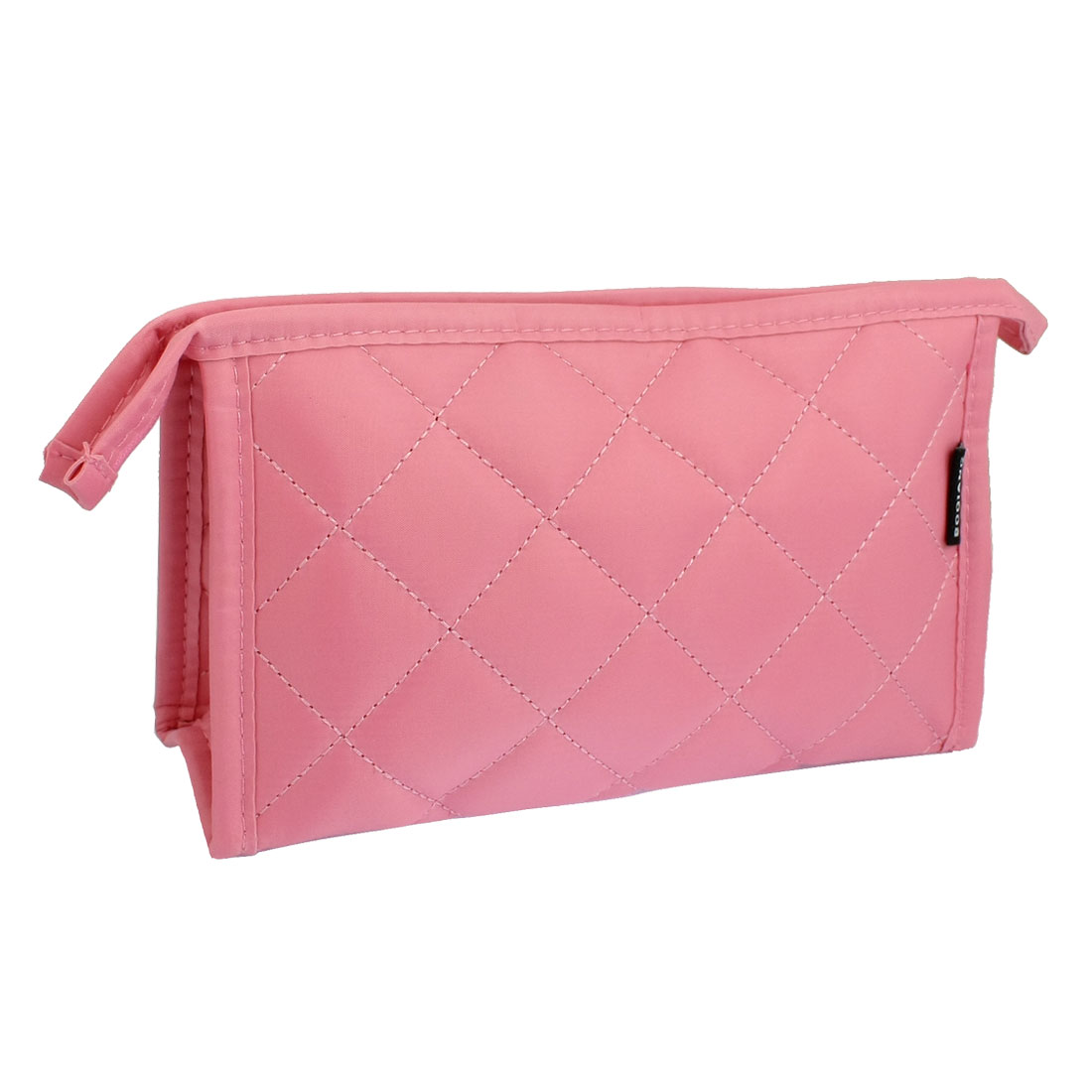 Check Pattern Zip Up Make Up Pink Cosmetic Pouch Bag w Mirror for Women
