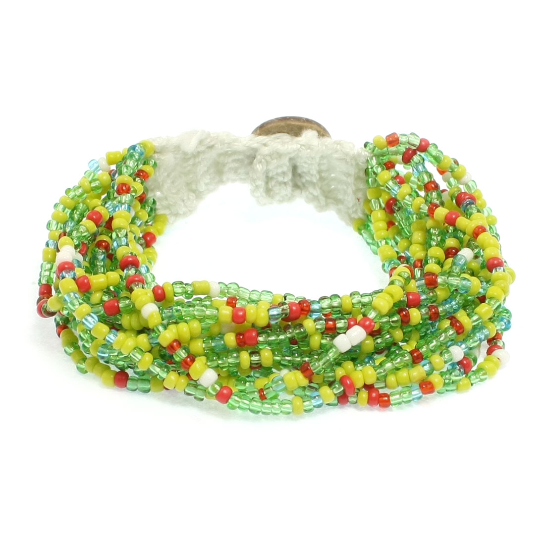 Lady Multicolored Multi String Beaded Handamade Bracelet Wrist Decor