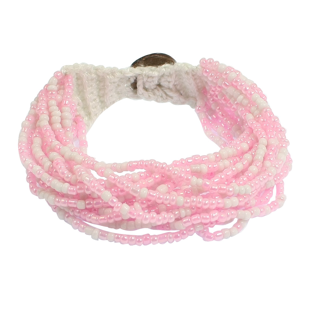Braided Mulitlayer String White Pink Beaded Bracelet for Ladies
