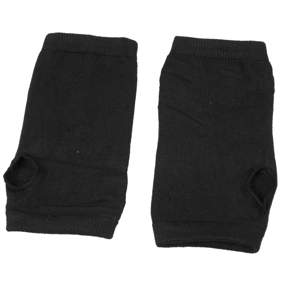 Pair Extended Black Thumbhole Palm Wrist Warmers for Men Woman
