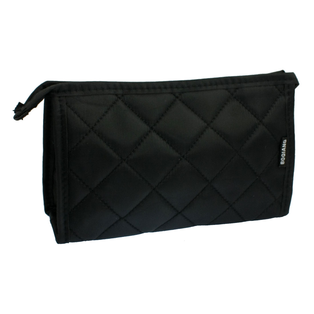 Nylon Black Rhombus Pattern Zip up Cosmetics Pocket Organizer w Mirror