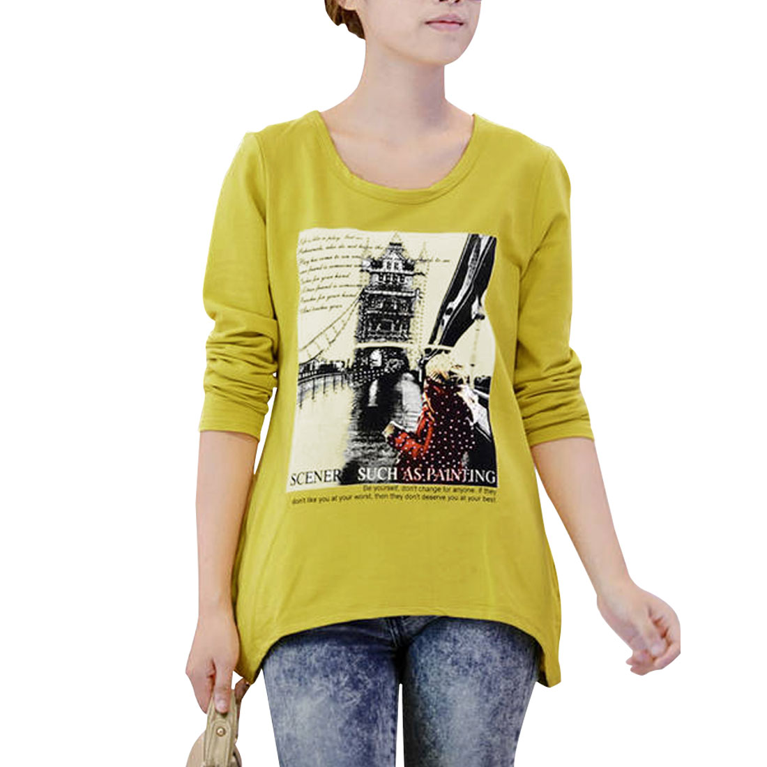 Ladies Dark Yellow Letter Printed Front Pockets Details Bottoming Shirt XS