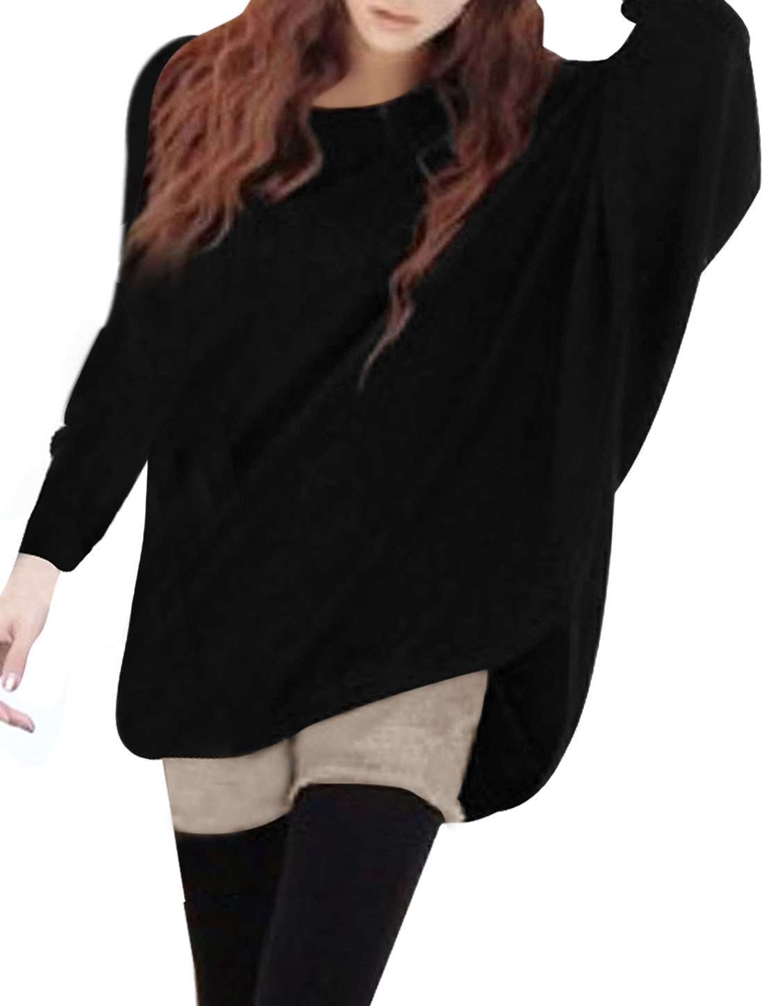 Ladies Scoop Neck Batwing Long Sleeve Black Slouchy Tunic Knit Shirt L