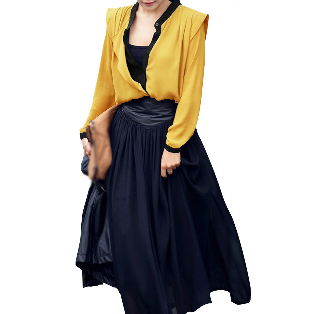 Women Yellow Button Closure Layered Shirts Long Sleeve Casual Shirt S