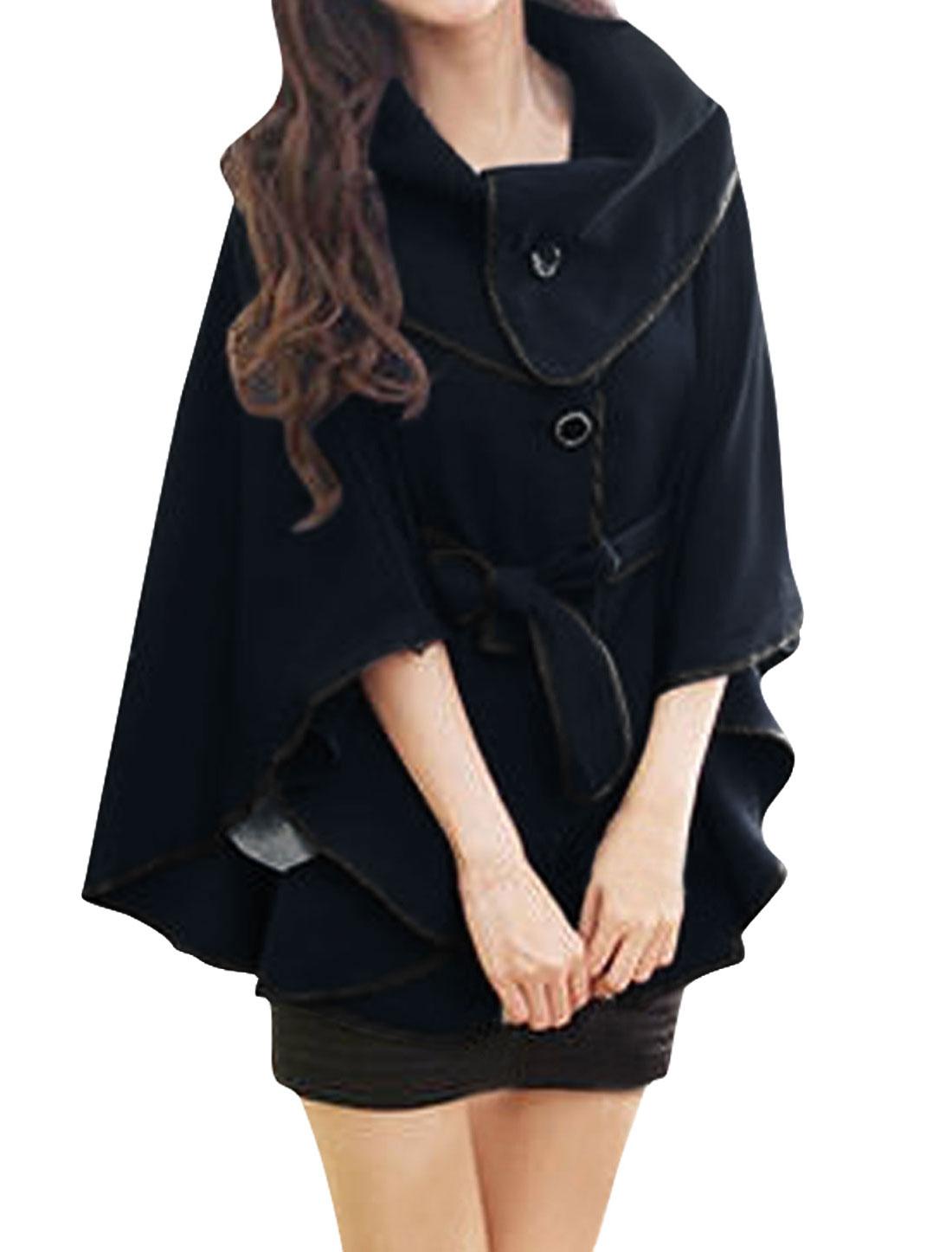 Women Dark Blue Casual Stand Collar Waist Strap Detail Cape S