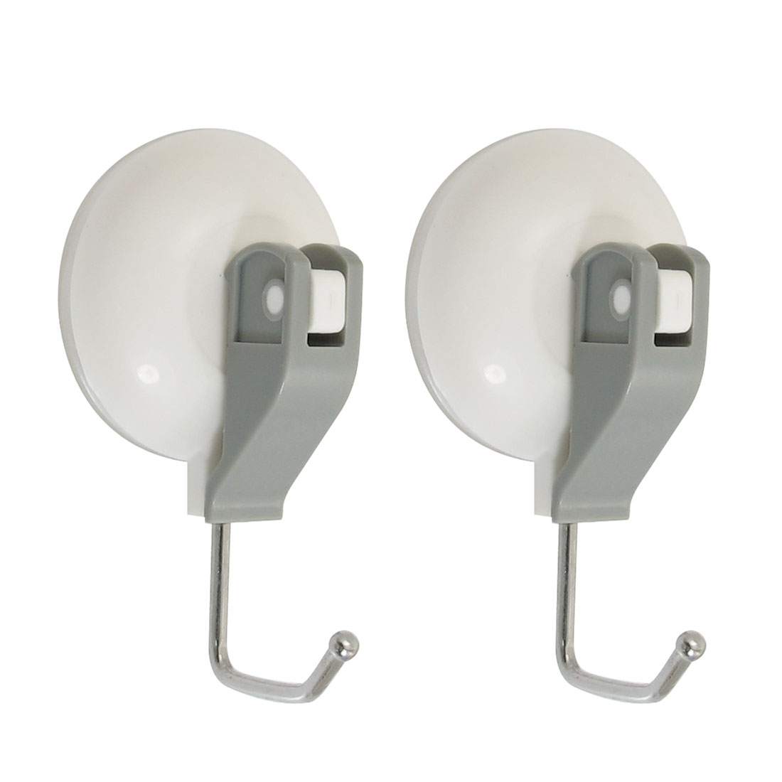 Bathroom White Circle Plastic Shell Suction Cup Single Hook Wall Hangers 2 Pcs