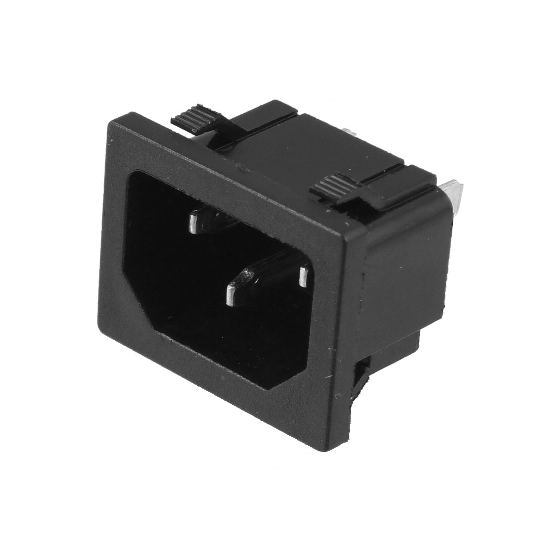 Black 3 Terminals IEC320 C14 Inlet Connector Power Socket AC 250V 10A