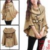 Ladies Khaki Korean New Buttons Front Pockets Decor Fall Cape S