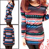 Women Black Pink Medium Blue Knitting Novelty Prints Shirt XS