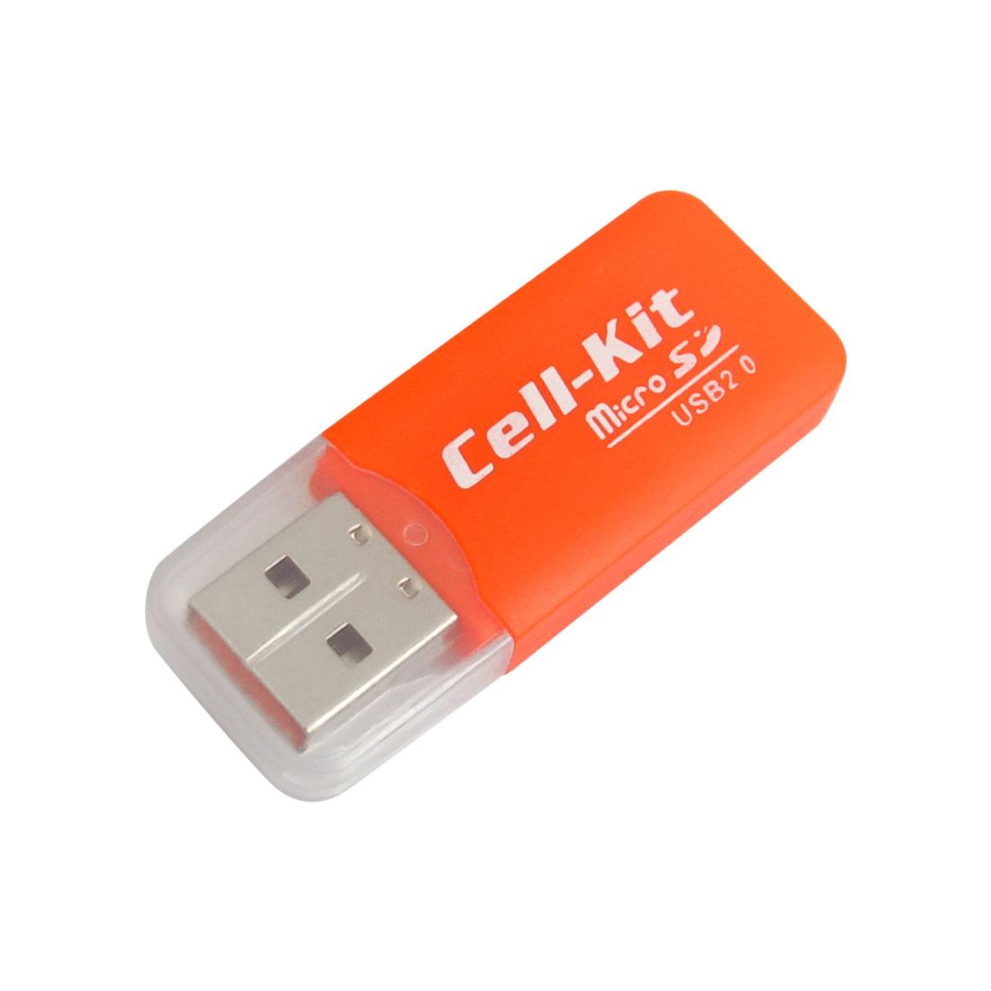 Orange Plastic Housing Shell USB 2.0 Micro SD Mini Memory Card Reader
