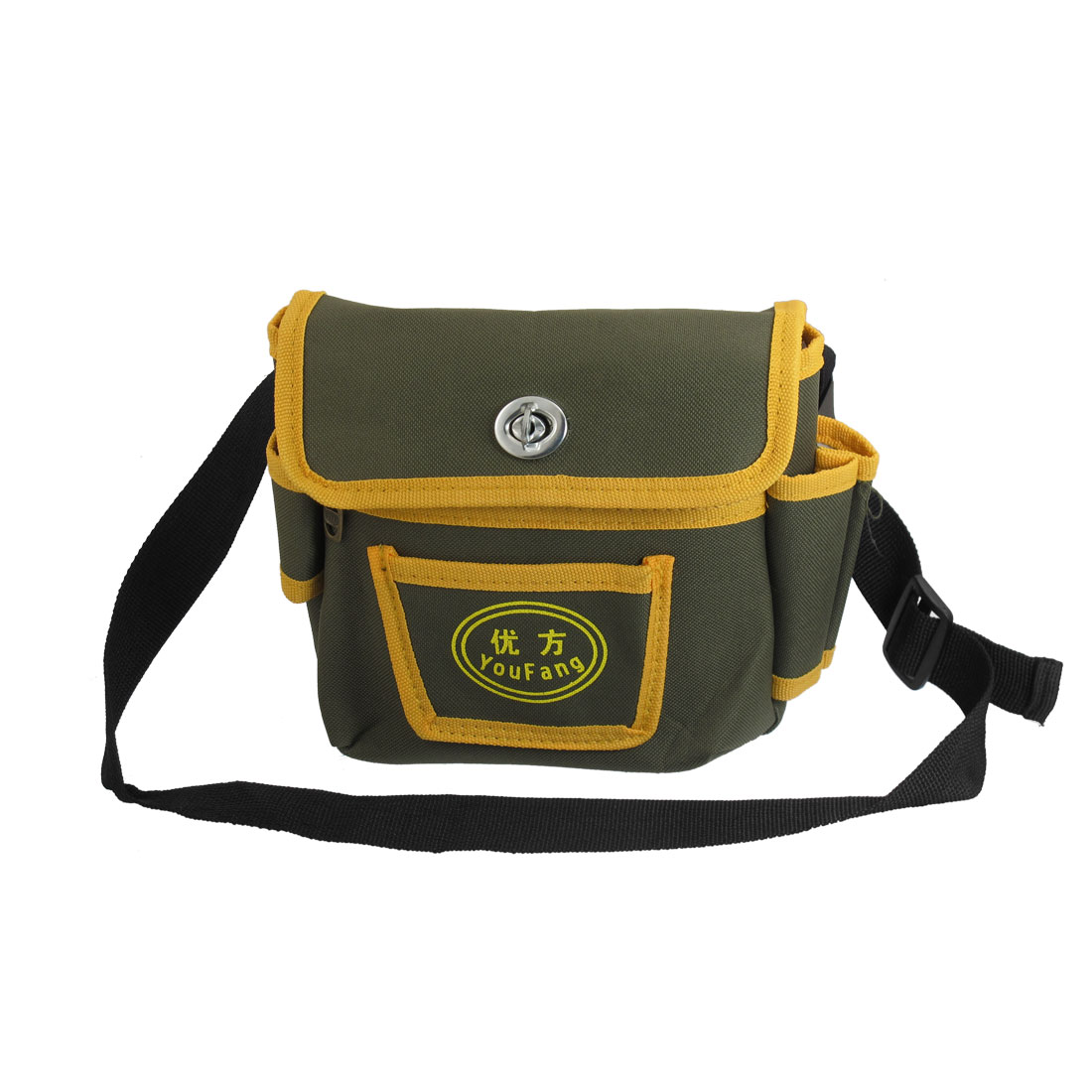 Men Army Green Yellow Nylon Zipper Closure 3 Pockets Belt Loop Waist Bag Pack
