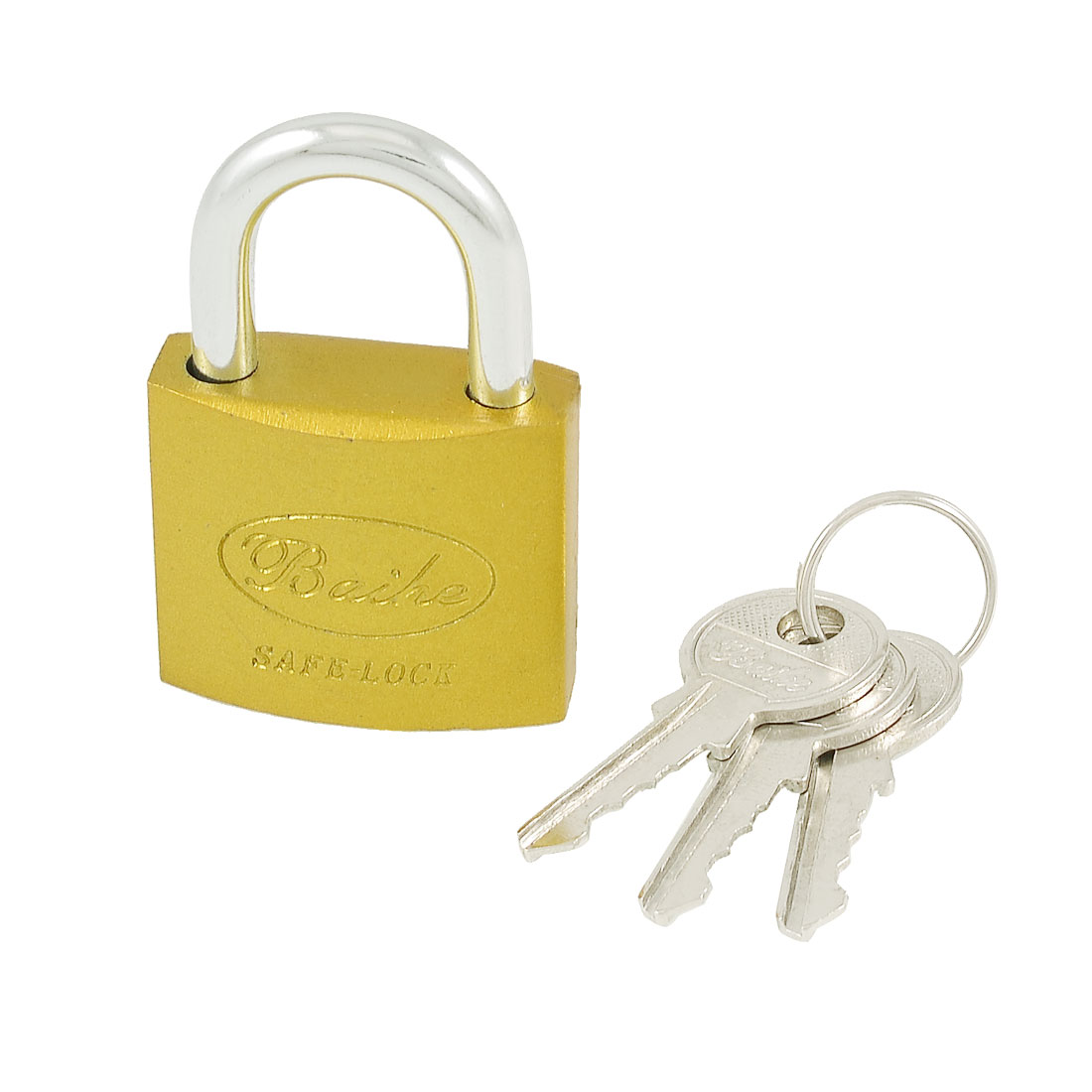 Home Door Gate 32mm Safety Lock Padlock Gold Tone w 3 Keys