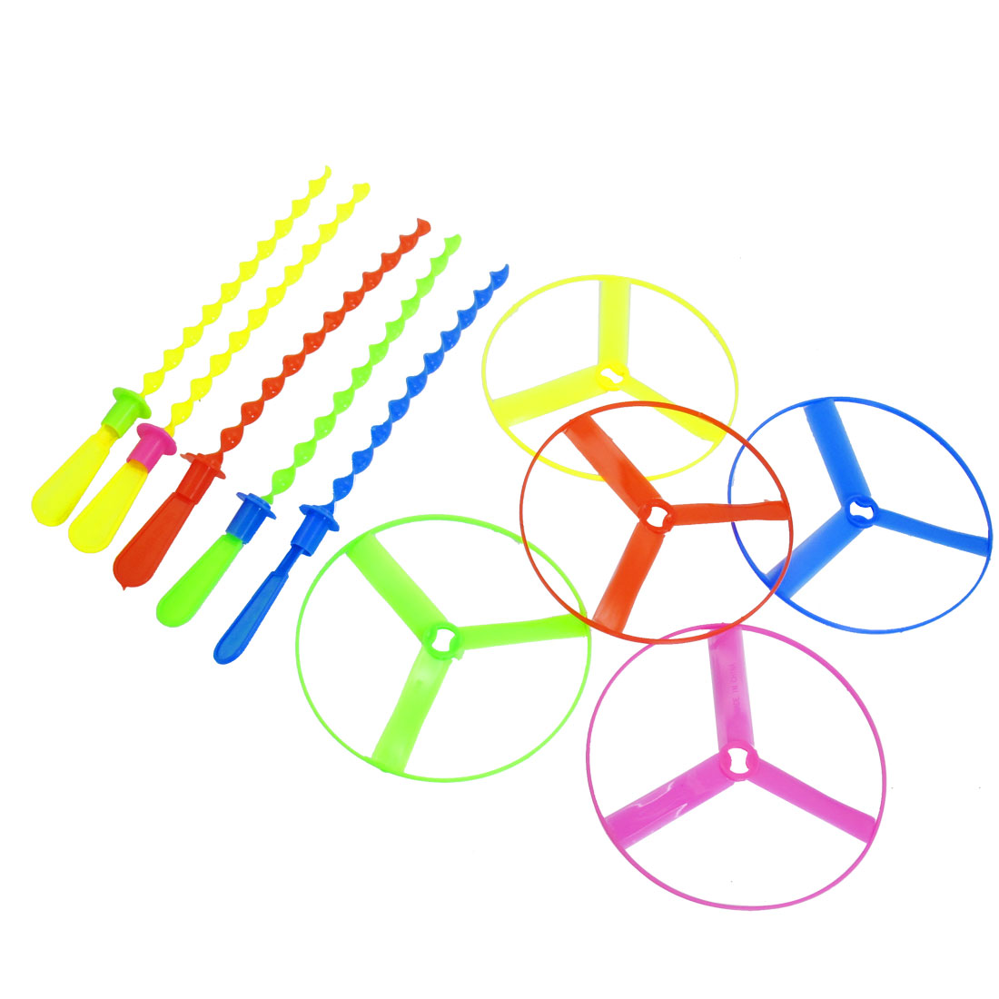 5 Pcs Children Assorted Color Plastic Flying Propeller Top Toys