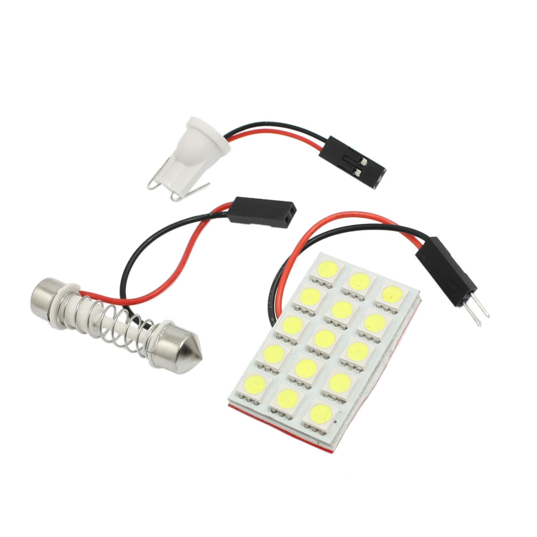 Car Auto White 5050 SMD 15-LED Bulb Dome Light Lamp w T10 Festoon Adapter