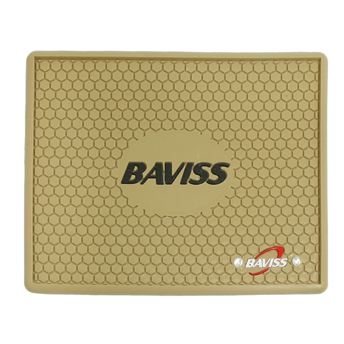 Car Interior Beige Rubber Textured Soccer Pattern Nonslip Mat Pad Holder