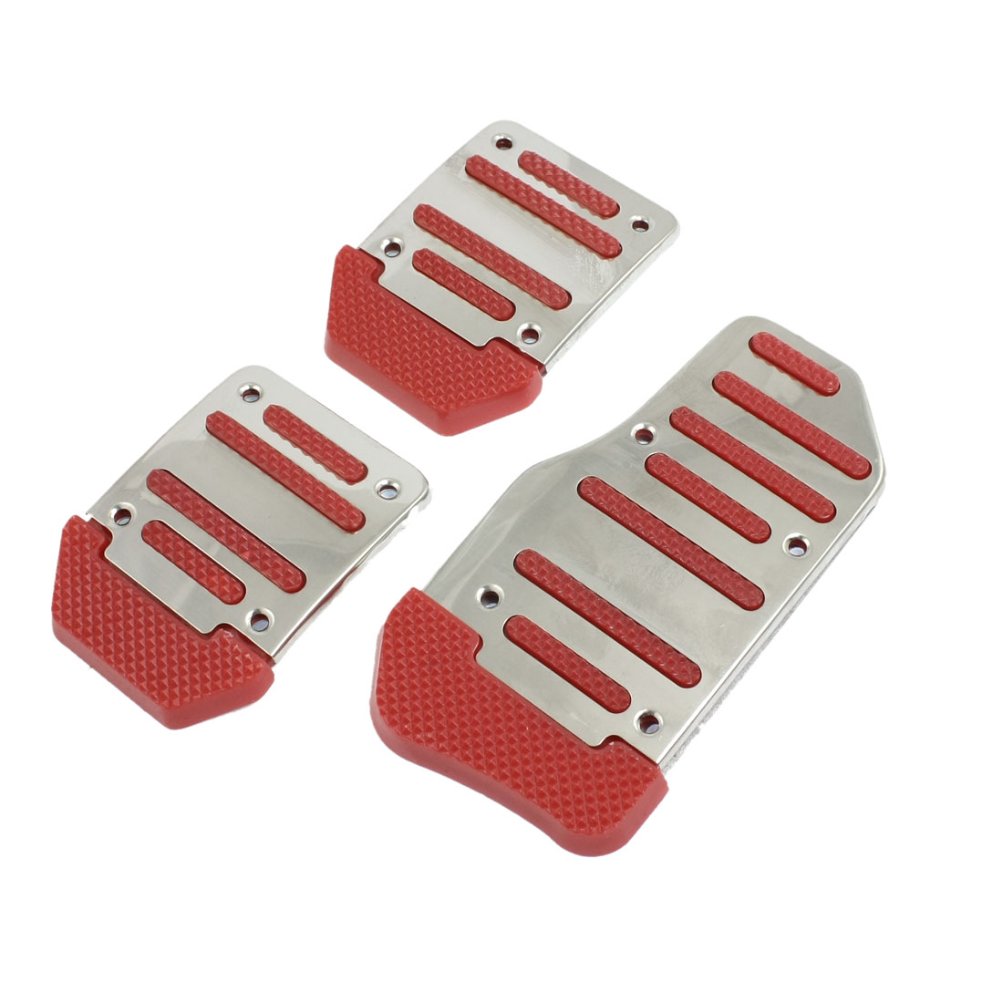 3 Pcs Silver Tone Red Nonslip MT Car Gas Brake Pedal Cover