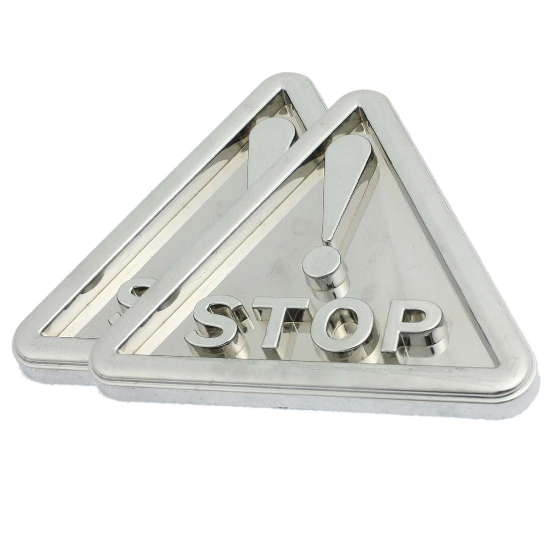 2 Pcs Silver Tone Traffic Safety Warning Sign Triangle Sticker