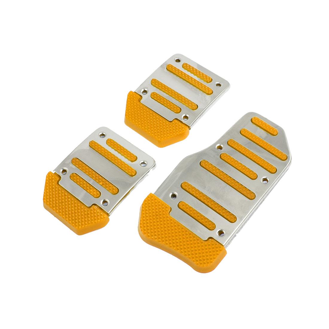 3 Pcs Silver Tone Orange Nonslip MT Car Gas Brake Pedal Cover