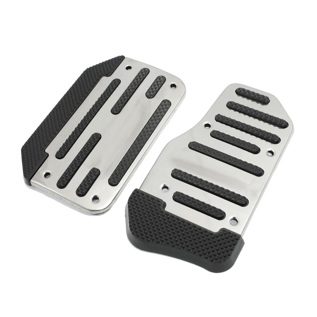 2 Pcs Silver Tone Black Nonslip Car Automatic Gas Brake Pedal Cover