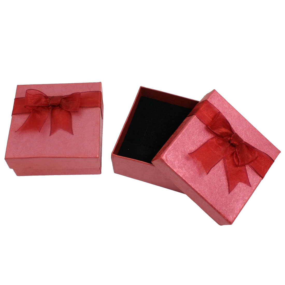 2 Pcs Bowtie Flower Pattern Cuboid Gift Cardboard Case Red