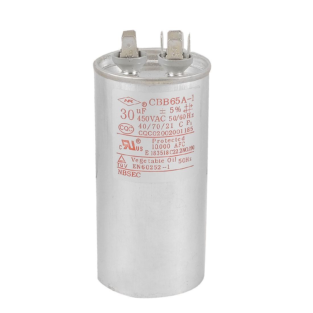 CBB65A-1 Air Conditioner Motor Run Capacitor 30uF 450VAC 50/60Hz