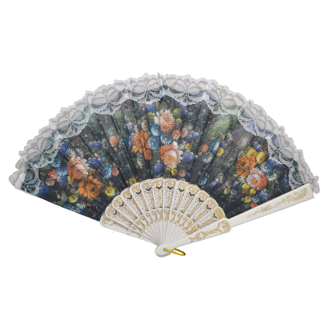 Plastic Rib Colored Daisy Pattern Fabric Lace Hand Pocket Asian Fan