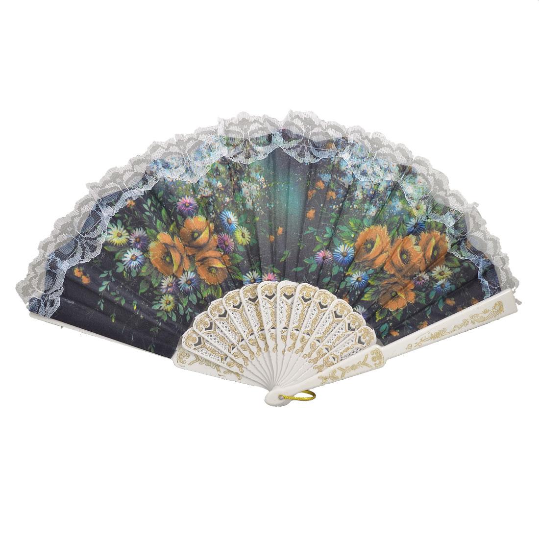 Plastic Rib Daisy Flower Prints Lace Trim Folding Fabric Hand Fan