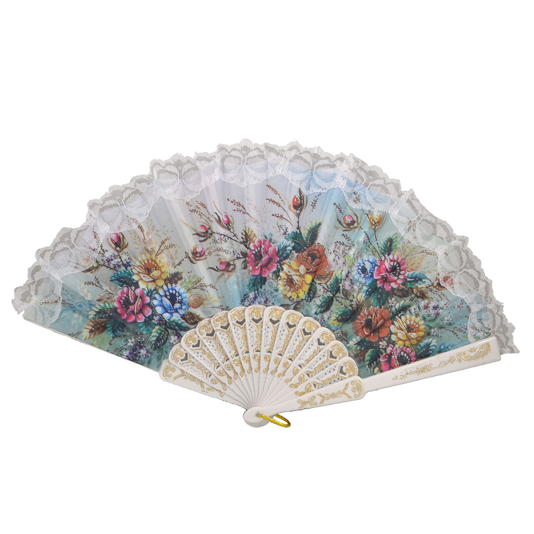 Dance Lace Trim Peony Print Foldable Hand Painted Fan Decoration